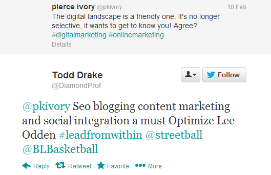 from @DiamondProf, endorsement in response to online marketing question